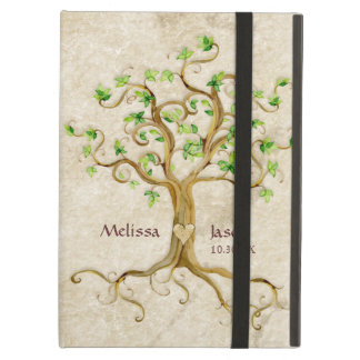 Swirl Tree Roots Antiqued Personalized Names Heart iPad Folio Cases