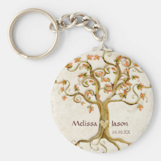 Swirl Tree Roots Antiqued Personalized Names Heart Key Ring