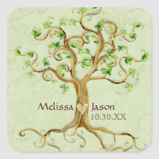 Swirl Tree Roots Antiqued Personalized Names Heart Square Stickers