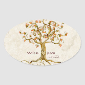 Swirl Tree Roots Antiqued Personalized Names Heart Oval Stickers