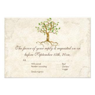 Swirl Tree Roots Antiqued RSVP Response Card Invites