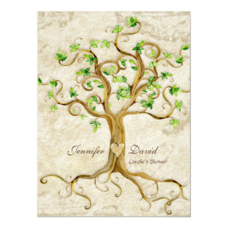 Swirl Tree Roots Antiqued Tan Couples Shower Custom Invitation