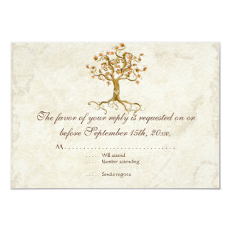 Swirl Tree Roots Antiqued Tan RSVP Response Card Announcements