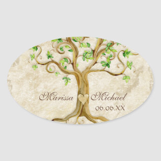 Swirl Tree Roots Antiqued Wedding Matching Seals Oval Sticker
