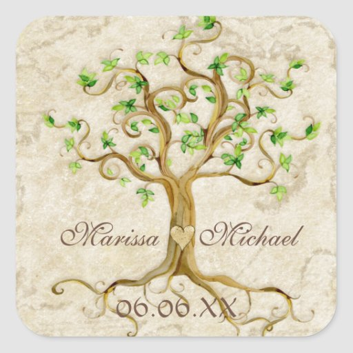 Swirl Tree Roots Antiqued Wedding Matching Seals Square Stickers