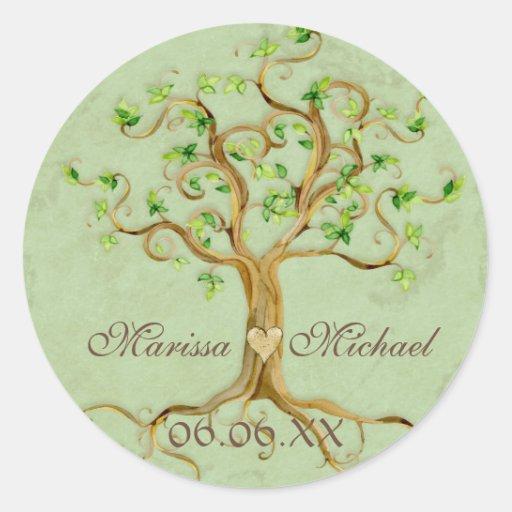 Swirl Tree Roots Antiqued Wedding Matching Seals Round Sticker
