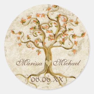 Swirl Tree Roots Antiqued Wedding Matching Seals Round Stickers