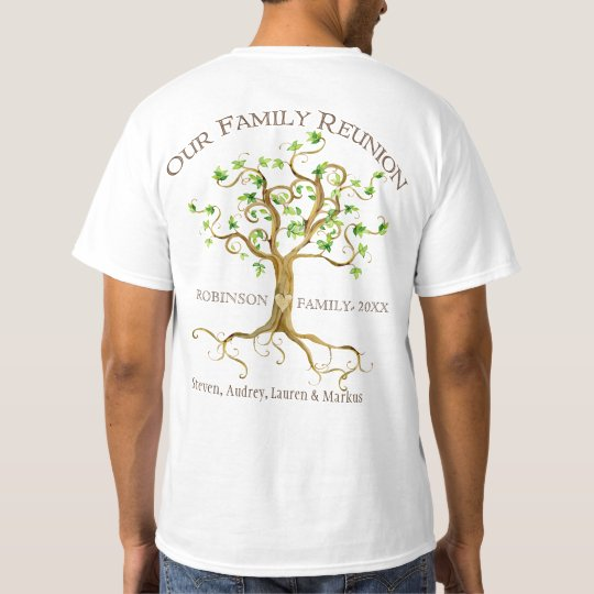 Swirl Tree Roots Personalise Family Reunion Gift T-Shirt