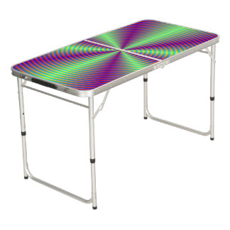 Swirl with Green Beams Beer Pong Table