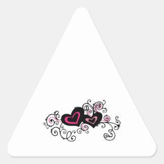 Swirled Hearts Triangle Sticker