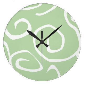 Swirled Pattern, Swirly Style - Green White Wallclocks