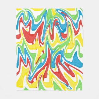 Swirled Rainbow Blue Red Yellow Green Fleece Blanket
