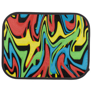 Swirled Rainbow Red Blue Yellow Green Car Mat