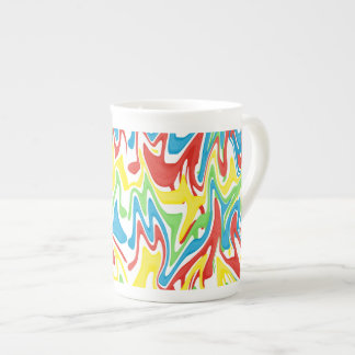 Swirled Rainbow Red Green Yellow Blue Tea Cup