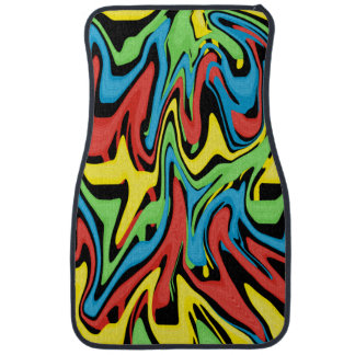 Swirled Rainbow Yellow Green Blue Red Car Mat