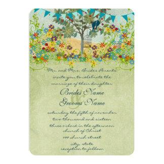 Swirled Romantic Lovebirds Tree Wedding Invitation