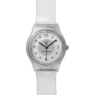 Swirled White Gray Monograms Clear May 28th Watch