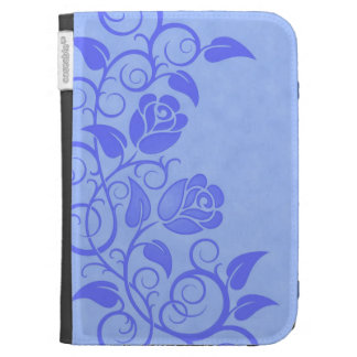 Swirling Blue Roses Kindle 3 Covers