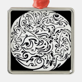 Swirling circle Silver-Colored square decoration