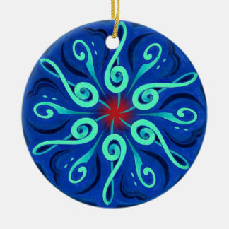 Swirling Clefs and Colorful Keyboard Circle Christmas Ornament