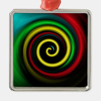 Swirling colours. Silver-Colored square decoration
