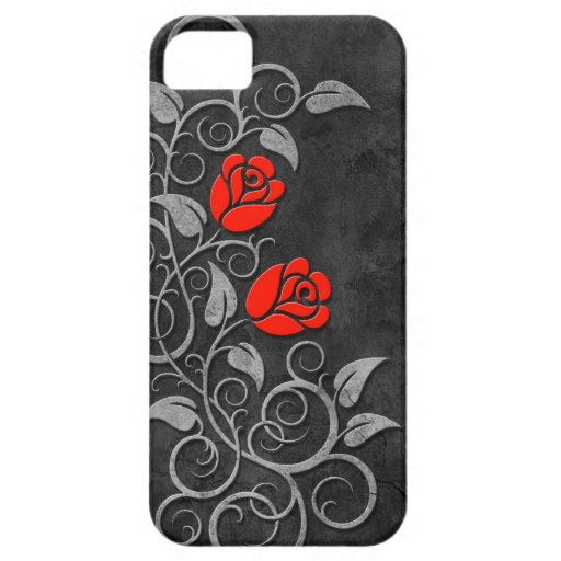 Swirling Dark Stone Red Roses iPhone 5 Cover