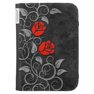 Swirling Dark Stone Red Roses Kindle Keyboard Case
