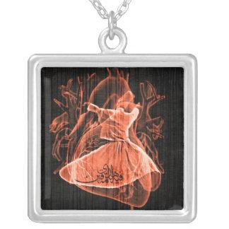 Swirling Dervish Square Pendant Necklace
