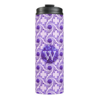 Swirling Dots in Sparkling Purple Thermal Tumbler