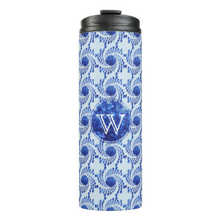 Swirling Dots in Sparkling Sapphire Blue Thermal Tumbler