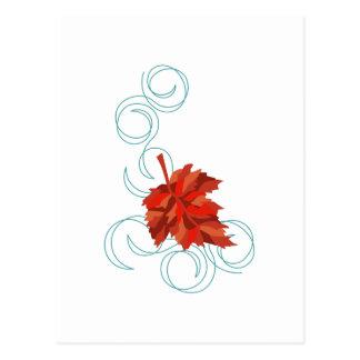 Swirling Fall Leaf Postcard