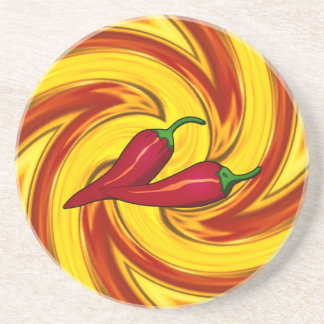 swirling gold red orange hot red peppers coaster