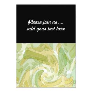 Swirling Green Yellow Abstract Art 13 Cm X 18 Cm Invitation Card