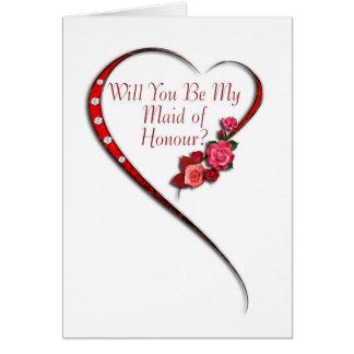 Swirling heart Maid of Honour invitation