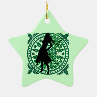 Swirling Lady in Green with Flowery Flourish Christmas Ornament