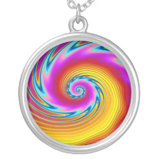 Swirling Liquid Glass (1) Silver Plated Necklace