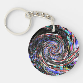 Swirling Melted Wax Single-Sided Round Acrylic Keychain