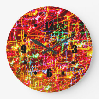 Swirling Neon Lights Glowing Wall Clocks