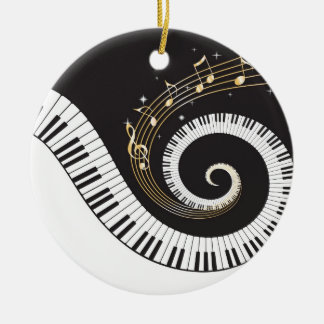 Swirling Piano Keys Double-Sided Ceramic Round Christmas Ornament