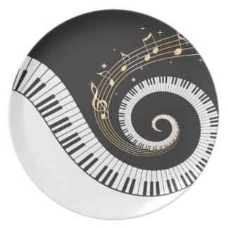 Swirling Piano Keys Party Plate