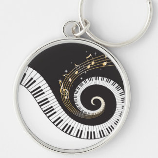 Swirling Piano Keys Silver-Colored Round Key Ring