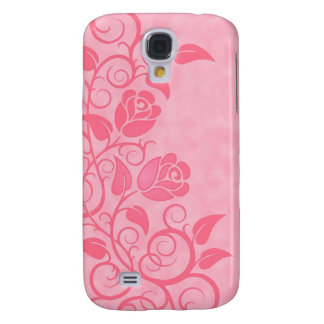 Swirling Pink Roses Galaxy S4 Covers