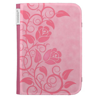 Swirling Pink Roses Kindle Keyboard Covers