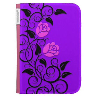 Swirling Pink Roses, purple background Kindle 3 Cases