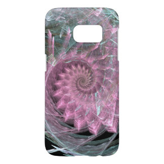 Swirling Pink Spiral With Green Highlights
