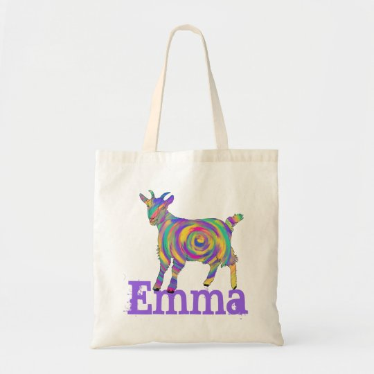Swirling psychedelic Art Goat Design add Your Name