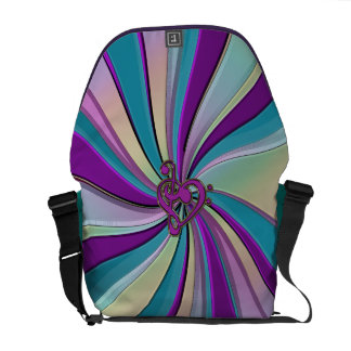 Swirling Rainbow Rays with a Music Heart Clef Commuter Bag
