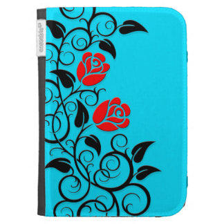 Swirling Red Roses, blue background Cases For The Kindle