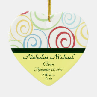 Swirling Ribbons Birth Announcement Keepsake Christmas Ornament