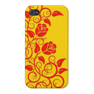 Swirling Roses, red on yellow Cases For iPhone 4